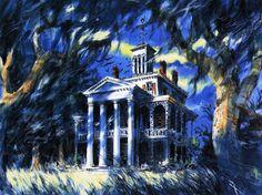 "Vintage Disneyland Haunted Mansion Painting [ 8.5"" x 11"" ] Poster #Vintage"
