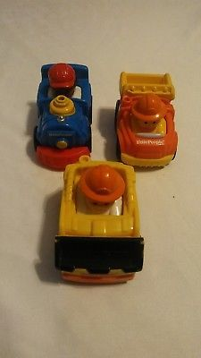 little people vehicle toys lot of 3 train bulldozer truck