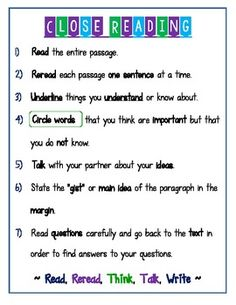 Close Reading Anchor Chart/ Student Reference Page (Need to modify for grade - like ideas) Reading Lessons, Reading Skills, Teaching Reading, Guided Reading, Reading Tips, Reading Groups, Study Skills, Reading Activities, Close Reading Strategies