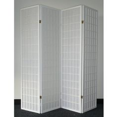 This Oriental Shoji room divider features four wood-frame panels with durable rice #paper screens. With a white finish on wood, this divider is perfect for addin...