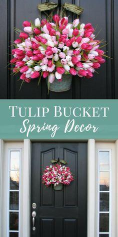 Farmhouse Tulip Bucket Door Hanger| Easter Tulip Bucket | Valentine's Day Door Hanger | Rustic Spring Decor | Spring Wreath | twoinspireyou #springdecor #ad #easterdecor #homedecorideas #wreaths