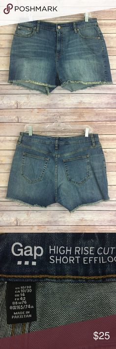 """Gap high rise denim cutoff shorts, size 10 (#237) These Gap high rise denim shorts are in excellent condition, I wore them once! They are a size 10/30 and and measure 16"""" flat across the waist and they have a 2"""" inseam. GAP Shorts Jean Shorts"""