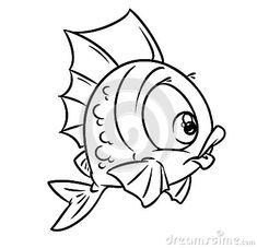 Coloring Fish Cartoon Illustration Image Character