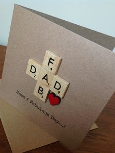 Scrabble Cards, Scrabble Tiles, Diy Father's Day Gifts Easy, Father's Day Diy, Old Cards, Personalised Frames, Ways To Recycle, Dad Birthday, Facebook Sign Up
