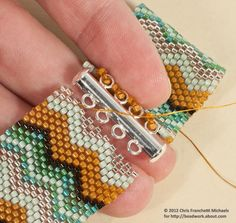 Attach a Slide Clasp to a Peyote Stitch Cuff Bracelet: Align the Clasp With the Other End of the Bracelet Band Beaded Bracelets Tutorial, Bead Loom Bracelets, Peyote Beading, Bracelet Clasps, Bead Loom Patterns, Beaded Jewelry Patterns, Bracelet Patterns, Peyote Stitch Tutorial, Beaded Bracelets