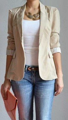 Stunning Women Casual Outfits with Blazer - Work Outfits Women Blazer Outfits Casual, Blazer Outfits For Women, Blazer Fashion, Blazers For Women, Stylish Outfits, Casual Blazer Women, Black Blazers, Women Blazer Outfit, Beige Blazer Outfit