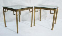 Lot: Pr Mid Century Designer Brass Glass Side Tables., Lot Number: 0188, Starting Bid: $200, Auctioneer: Uniques & Antiques, Inc., Auction: Modern Design Auction - Wednesday, November 1, Date: November 1st, 2017 CDT