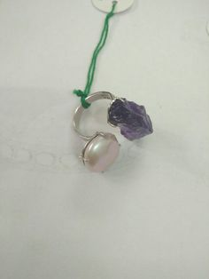 Ruff Amithist and pearl with rosecut ring