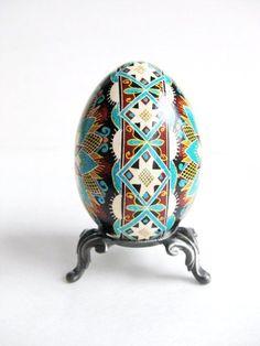 Blue Pysanka batik egg on chicken egg shell by UkrainianEasterEggs