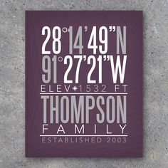 Latitude & Longitude Coordinates Art makes a great Christmas gift! Perfect for weddings & house warming gifts too! Personalized with your name, coordinates, date, and color of your choice. By Studio 120 Underground, $12