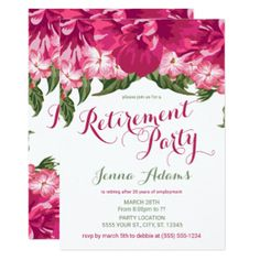 Tropical Floral, Retirement Party Invitations