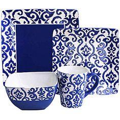 jcp   Waverly Damask 16-pc. Dinnerware Set $59.99