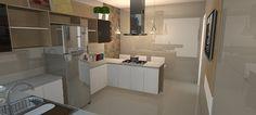 Projeto de cozinha com porcelanato polido retificado e azulejo português em patchwork