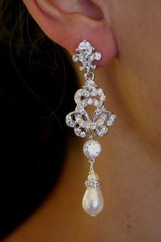 Swarovski Bridal Earrings, Pearl Chandelier Earrings, , Crystal earrings, Wedding Jewelry,Pearl earrings , Knot earrings,