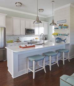 Beach House Kitchen Design Coastal Decor How To A X Back Wooden Bar Stools Stainless Metal Vent Hood Aqua Gl