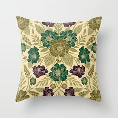 Buy Elegant Floral Pattern in Sage Green, Jade, Olive & Purple Throw Pillow by somecallmebeth. Worldwide shipping available at Society6.com. Just one of millions of high quality products available. Purple Throw Pillows, Couch Pillows, Down Pillows, Designer Throw Pillows, Pillow Design, Pillow Inserts, Sage, Elegant, Floral