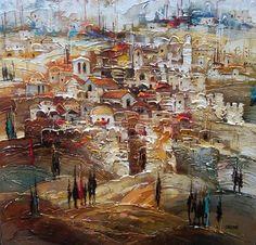 Israel I (Gendelman) Jewish Art, Cross Paintings, Pretty Art, Art World, Landscape Art, Art Pictures, Art Inspo, Amazing Art, Abstract Art