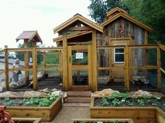 Coop and garden - add a chicken moat and make sure the top of run is covered with a roof. Good access to run from garden and proper door access to coop. Chicken Coop Designs, Chicken Coop Plans, Building A Chicken Coop, Diy Chicken Coop, House Building, Chicken Barn, Chicken Coop With Run, Simple Chicken Coop, Chicken Feeders