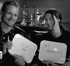 """"""" because if Caitriona Balfe says he's perfect, then he must be! Sam Hueghan, Sam And Cait, Sam Heughan Caitriona Balfe, Perfect Couple, Time Travel, Outlander, Romance, Stars, Twitter"""