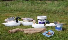 Burlapping Foam Decoys