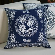 Blue and white flower sofa cushion Chinese style square pillow for couch
