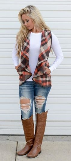 #fall #outfits  women's white sweater, and brown and red plaid vest