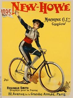 New Howe Cycles poster by Pal from 1895 France - Vintage Posters Reproductions. French transportation poster features a matador on a bicycle holding up a sword with a flag reading 1895 on a yellow background. Giclee Advertising Print. Classic Poster