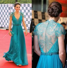 Kate Middleton - in Teal with lace--- this in white/cream would totally b my wedding dress!!!!!!