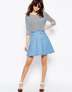 ASOS Denim Flippy Skirt with Braces