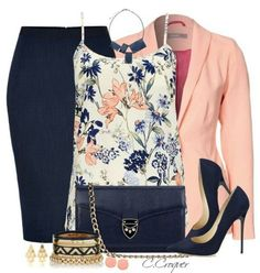 A fashion look from March 2015 featuring layering camisole, orange blazer jacket and elastic waist pencil skirt. Browse and shop related looks. Classy Outfits, Chic Outfits, Fashion Outfits, Womens Fashion, Fashion Trends, Work Outfits, Fashion Styles, Spring Outfits, Style Fashion