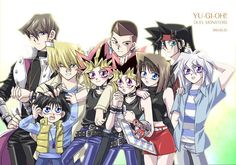 """Kaiba looks pissed off as usual. Joey looks like he's trying to seduce me and molest Mokuba at the same time. Mokuba looks like a terrified 5-year-old even though he's twelve. Yami looks happy at being accepted. Yugi is thinking: """"I'm next to Tea AND Yami at the same time? I've been dreaming of this moment for so long..."""" Tea looks like she's goth. Duke looks confused. Tristan appears to be checking out Bakura. And... OH MY GOD!!  Bakura actually just looks NORMAL!!!"""