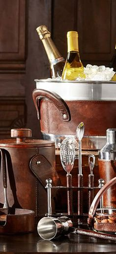 Saddle Leather Bar Stool Set | Home Bar Accessories & Entertaining | www.earthgear.com