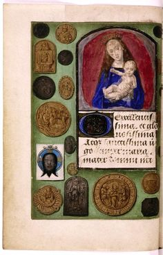 Pilgrim's badges painted on the border. Book of Hours, Flanders. OxfordBL Douce219