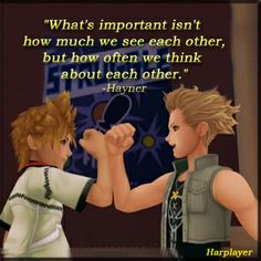 Roxas and Hayner - Kingdom Hearts II Kingdom Hearts Ii, Kingdom Hearts Zitate, Kingdom Hearts Quotes, Video Game Quotes, Video Games, Star Citizen, Manga Anime, Chain Of Memories, Heart Quotes