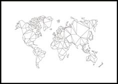 World map in graphic style with polygon monsters. Black and white poster with the map. Put a nice frame in and create your own unique picture wall!de by desenio_de Hamburg Poster, Carte New York, Buy Posters Online, Art Online, Kunst Online, Desenio Posters, Personalised Posters, World Map Poster, Map Posters