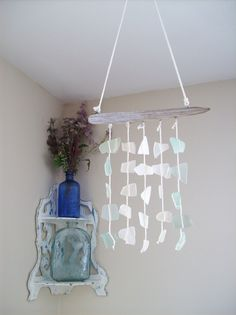 Milk Glass and Mint Sea glass mobile// Natural driftwood mobile// Small window hanging suncatcher by RedIslandSeaGlass on Etsy