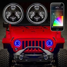 "XKchrome Jeep Headlight + RGB Halo Ring - Jeep Off-Road 7"" LED Headlights"