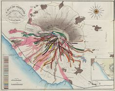 Vesuvius Lava Map by John Auldjo, 1832