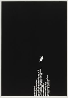 Poster design: A. G. Fronzoni building made of sentences. Black and white.