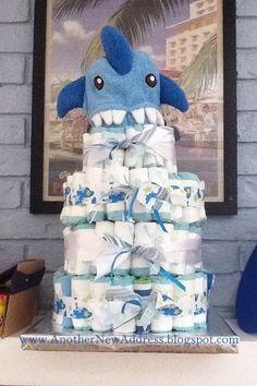 Shark-themed diaper cake from anothernewaddress.blogspot.com.
