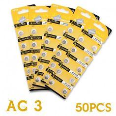 50 pc/set LR41 AG3   Spécifications  Tension: 1.55V  Diamètre: 7.9mm / 0.31''  Modèle: AG3