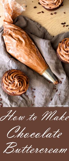 Make your own chocolate buttercream at home! It is the easiest thing to make. You can use this frosting in almost all desserts. Cupcakes taste better because of this homemade chocolate frosting! Homemade Chocolate Frosting, Chocolate Buttercream Frosting, Chocolate Recipes, Buttercream Cupcakes, Cake Icing, Easy To Make Desserts, Easy Desserts, Delicious Desserts, Vegetarian Desserts