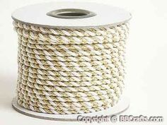 Petite Metallic Cord White With Gold - 3mm