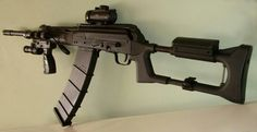 Saiga 12 is a perfect close range, high impact weapon. Semi automatic 12 gauge with box or drum magazine.  Close range perfection built on a rugged AK-47 platform
