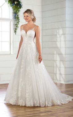 Classic Lace A-Line Wedding Gown - Essense of Australia