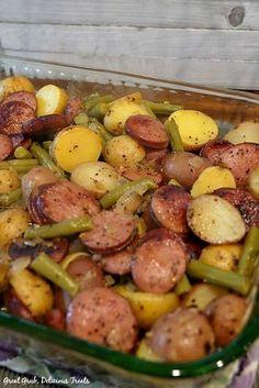 Sausage Green Bean Potato Casserole has delicious flavor, loaded with sliced kielbasa, green beans and potatoes. Sausage Green Bean Potato Casserole has delicious flavor, loaded with sliced kielbasa, green beans and potatoes. Smoked Sausage Recipes, Pork Recipes, Crockpot Recipes, Cooking Recipes, Healthy Recipes, Polish Sausage Recipes, Kabasa Recipes, Sausage Meals, Meat And Potatoes Recipes