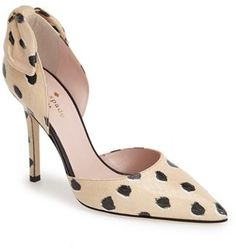 """KATE SPADE NEW YORK 'LULA' PUMP (WOMEN)   $209.98 by Kate Spade at Nordstrom          Available Colors: Shell/ Black Available Sizes: 6.5 M,7 M,7.5 M,8.5 M,9 M,9.5 M DETAILS Darling spots and subtle snakeskin embossing lend visual depth to an arch-baring d'Orsay pump with a signature bow at the heel to complete the ladylike look. 4"""" heel. Leather upper, lining and sole. By kate spade new york; made in Italy. Salon Shoes."""