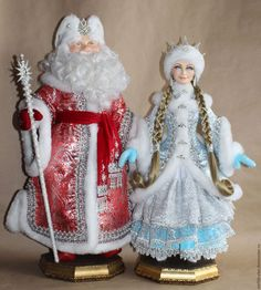 Коллекционные куклы ручной работы. Ярмарка Мастеров - ручная работа. Купить Дед Мороз и Сенегурочка. Handmade. Комбинированный, папье-маше