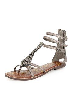 Ginger Beaded Metallic Gladiator Sandal, Pewter by Sam Edelman at Neiman Marcus.
