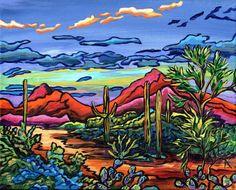 Evening Moment by Alexandria Winslow Canvas Painting Quotes, Easy Canvas Painting, Cool Paintings, Landscape Paintings, Cactus Art, Rock Cactus, High School Art Projects, Western Landscape, Desert Art